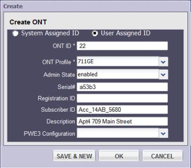 Регистрация ONT ID, серийного номера и профиля ONT